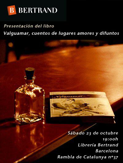 Presentación de Valguamar en la librería Bertrand en Barcelona